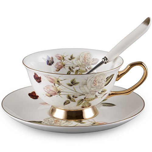 Neolith Peony Royal Bone China Tea Set and Saucer Set (Saucer Tea Peony)