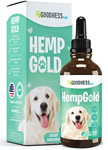 Fur Goodness Sake Hemp Oil for Dogs - Organic Remedy for Dog Anxiety Relief, Cat Calming and Joint Pain Relief - Grown in USA, Third Party Tested, Hemp Oil for Pets (Unflavored)