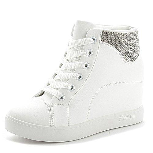 Chaussures Femme Sport Sneakers Hauteur Baskets Blanc D64NbnpR