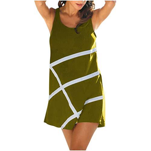 YFancy Fashion Dresses for Women Summer Comfy Holiday O-Neck Sleeveless Cross Line Print Casual Beach Mini Dress Green
