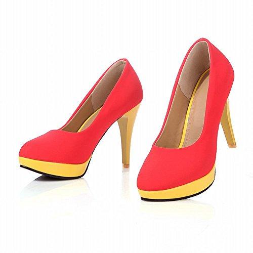 Carol Schoenen Chic Dames Manchet Multicolor Fashion Platform Hoge Hak Pumps Dress Schoenen Rood