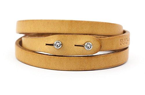 Bracelet Around Swarovski Wrap (Genuine Italian Leather Wrap Bracelet with Swarovski Crystal Closure | Multiple Colors Available Women or Men | Handcrafted in Italy (Te Plus))