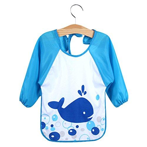 Diamondo Newborn Baby Toddler Kids Long Sleeve Art Smock Bib Waterproof Apron (Whale)
