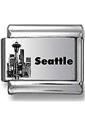 Seattle Skyline Laser Italian Charm