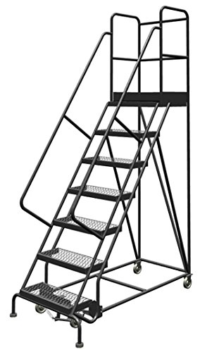 Tri-Arc Deep Top Steel Rolling Industrial & Warehouse Ladder with Handrails, Wide Grip Strut Tread