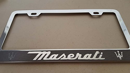 maserati-gray-vinyl-decal-cut-reverse-on-chrome-metal-license-frame-with-screw-caps-included