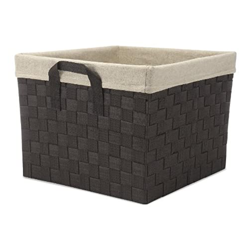 Whitmor Woven Strap Storage Tote Basket with Liner - Espresso  sc 1 st  Amazon.com & Woven Baskets for Storage: Amazon.com
