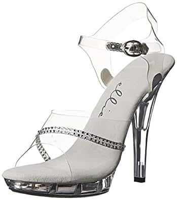 Ellie Shoes Women's M Jewel Platform Sandal, Clear, 5 M US