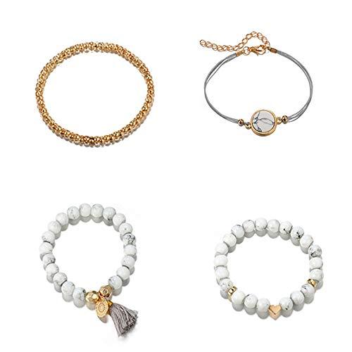 Glamour Girl Bracelet - Heart Shaped Disc Tassel Beaded Round Bracelet Glamour Gift for Women Girls
