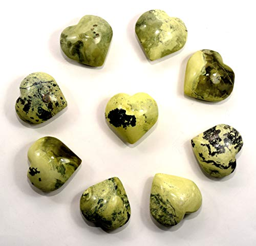 Pair 52mm Natural Yellow/Green Serpentine Puffy Hearts Polished Sparkling Gemstone Crystal Mineral Spesimens from Peru (2PCS)