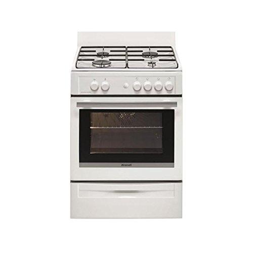 Brandt BCG6600W Cuisinière Cuisinière à gaz A Blanc four et cuisinière - Fours et cuisinières (Cuisinière, Blanc, boutons, Rotatif, Devant, Cuisinière à gaz, Butane/Propane)