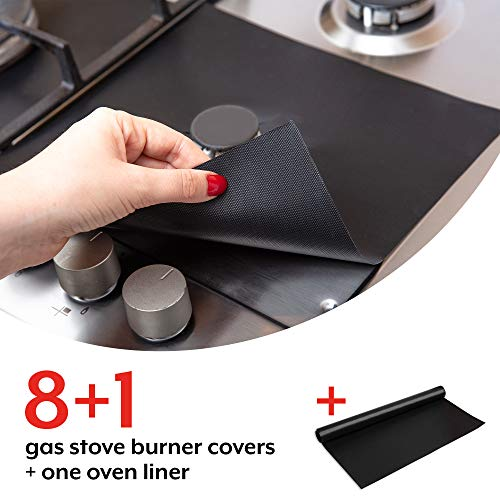 Stove Burner Covers with Oven Liner - Round, Non-Stick, Easy Clean, Heat Resistant to 500 Degrees. FDA Approved, BPA Free, Reusable. Large Size 16.25x23 Inch Liner, Double Thickness, Black, 8+1-Pack