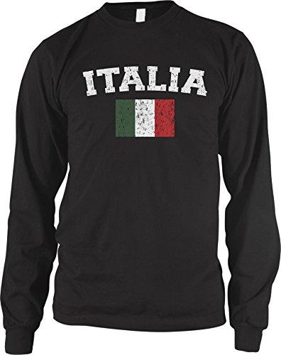Amdesco Men's Italian Flag, Flag of Italy, Love Italia Long Sleeve Shirt, Black Medium