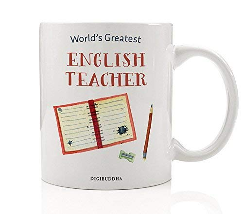 (English Teacher Gifts Coffee Mug World's Greatest English Teacher Grammar Literature Tutor Elementary Middle High School Christmas Thank You Present from Student 11oz Ceramic Cup by Digibuddha DM0307)