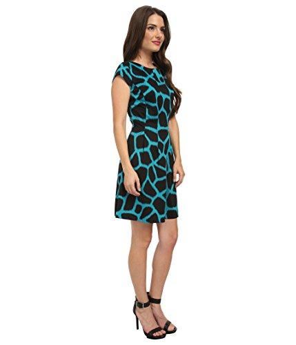 MICHAEL Michael Kors 'Antalia' Giraffe Print Fit & Flare Dress- Tile Blue 16