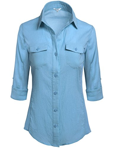 MISSISH Women's Solid Slim Fit Roll Over 3/4 Sleeve Button Down Collar Shirt Small Placid Blue