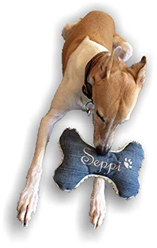 Hunde Spielzeug XXS XS S M L XL XXL Kissen Knochen Hundeknochen Quietscher Jeans blau bestickt Name Wunschname Hundekissen personalisiert Unikat persönliches Geschenk Hundespielzeug