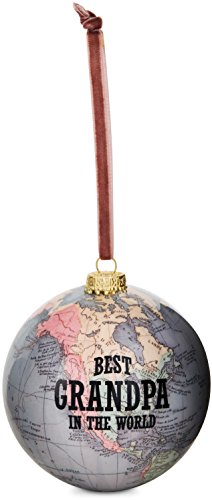Pavilion Best Grandpa in The World Earth Christmas Tree Decoration Ornament