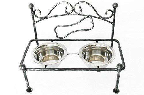 Tierlando Doppel -Futternapf con Remable Bowls Antique Look Dog Bowl Food Bar Water Bowl Set Black -Silver, S