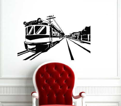 Boxcar on Tracks Wall Vinyl Decals Sticker Home Interior Decor for Any Room Housewares Mural Design Graphic Bedroom Wall Decal (5648) ()