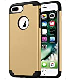 CaseHQ Rubber+PC Case Compatible with Apple iPhone 7/8 Plus (5.5 Screen),Slim Dual Layer Silicone Protective Heavy Duty Protection Slim Fit Hybrid Hard Back Cover+Soft Silicone Case-Gold