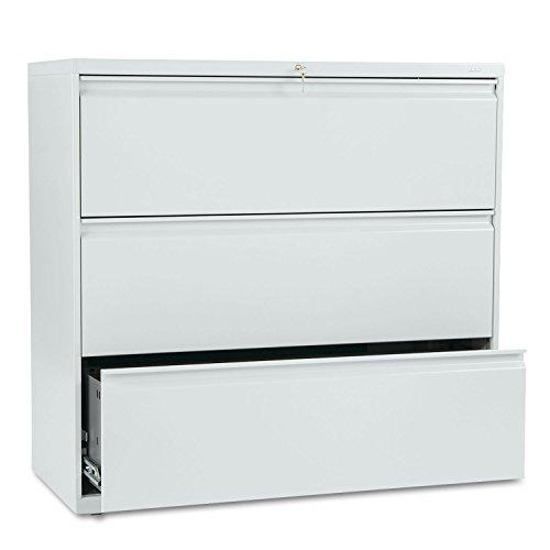 HON 893LQ 800 Series Three-Drawer Lateral File, 42w x 19-1/4d x 40-7/8h, Light Gray