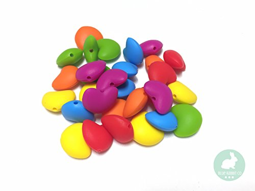 Heart Shaped Silicone Bead for Making Toys, Teethers, Bracelets and Jewelry | DIY Sensory, Nursing & Chew Necklaces (80 Rainbow, 30 PC)
