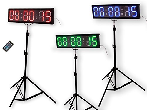 """EU 4"""" 6 digits RGB LED Race Timing Clock For Running Events Countdown/up stopwatch IOS and Android are supported."""
