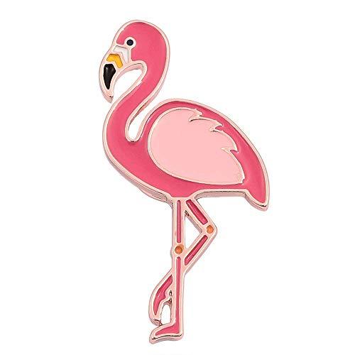 SENFAI 10K Gold Color Cute Enamel Flamingo Pin and Brooch (Rose Gold)