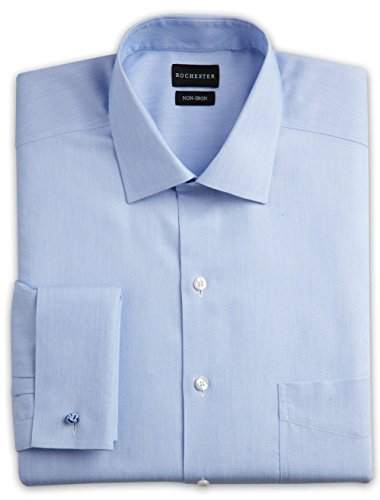 Cuff Oxford (Rochester By DXL Big And Tall French-Cuff Oxford Dress Shirts, Blue 19 36/37)