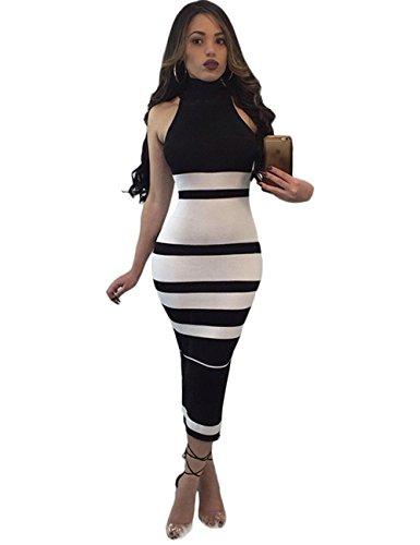 - Maketina Womens High Neck Sleeveless Stripe Casual Long Bodycon Bandage Dress Black XS
