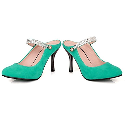 TAOFFEN Women's Fashion Stiletto Mules Pumps Shoes Green N4kmT0Ef3