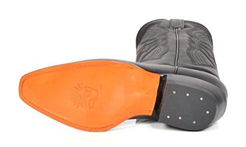 House Of Leather Cowboy Stivali in Pelle Scivolare su Appuntito Lunghezza di Polpaccio Tacco Western 12LA-Hi Nero