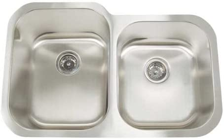 Artisan AR 3221 D97-D Premium Collection 16-Gauge 31-Inch Undermount Double Basin Large Left Stainless Steel Kitchen Sink with 9-Inch Left Basin Depth