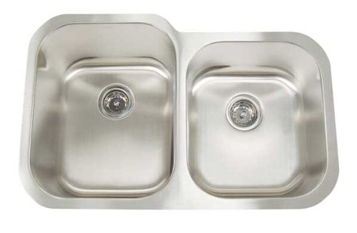 Artisan AR 3221 D97-D Premium Collection 16-Gauge 31-Inch Undermount Double Basin Large Left Stainless Steel Kitchen Sink with 9-Inch Left Basin - Undermount Artisan Sink