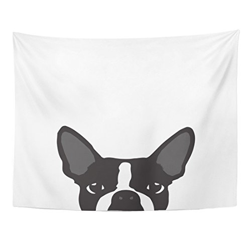 TOMPOP Tapestry Colorful Pop Boston Terrier Silhouette White Bulldog Dog Drawing Home Decor Wall Hanging for Living Room Bedroom Dorm 60x80 -