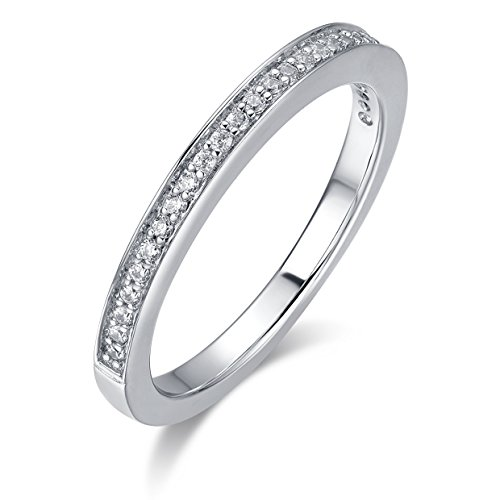 Hafeez Center 2.0mm Rhodium Plated Sterling Silver Micropave Cubic Zirconia CZ Half Eternity Wedding Ring (Half Eternity Ring Band)