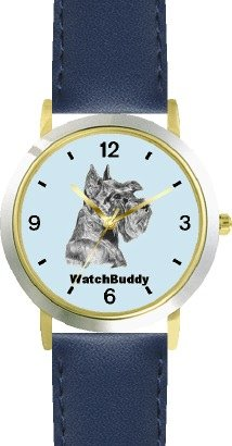 Miniature Schnauzer (SC) Dog - WATCHBUDDY DESIGNER DELUXE TWO-TONE THEME WATCH - Arabic Numbers-AQUA MARINE STYLE - Pale Blue Dial with Blue Leather Strap-Size-Large ( Men's Size or Jumbo Women's Size )