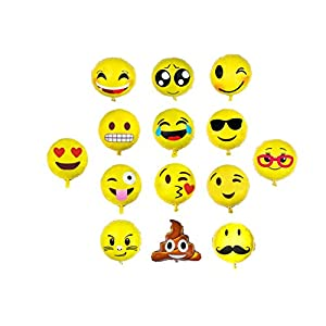 Emoji Balloon Happy Birthday Party - Set of 14 Pack Mylar Foil 18 Inch Helium Reusable Ballons For Congratulation Decoration Anniversary Festival Graduation Bouquet Gift Idea Engagement Celebration