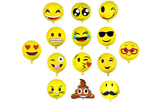 Emoji Balloon Happy Birthday Party - Set of 14 Pack Mylar Foil 18 Inch Helium Reusable Ballons For Congratulation Decoration Anniversary Festival Graduation Bouquet Gift Idea Engagement (Communion Party Ideas)