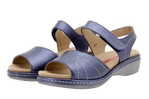 PieSanto Komfort Damenlederschuh 1801 Sandale mit Herausnehmbarem Fußbett Bequem Breit Marino
