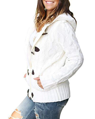 Size Donna Cardigan Maniche color Con Maglia Cappuccio Lavorato Ardiglione A Caldo Invernale Da Lunghe Fibbia Green S Ad White Felicipp 6TYqwd6