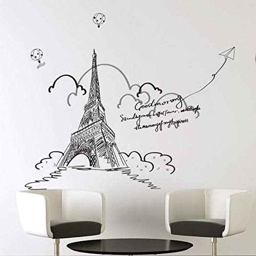 Paris Murals - Wall Stickers Murals Paris Tower Wall Stickes DIY Europe Style Mural Decals for Living Room Bedroom Home Decoration 140X123Cm