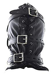 Leather Hood With Eye Mouth Holes Dildo Panel Gag Sub Slave Punishment Kit SM Restraint