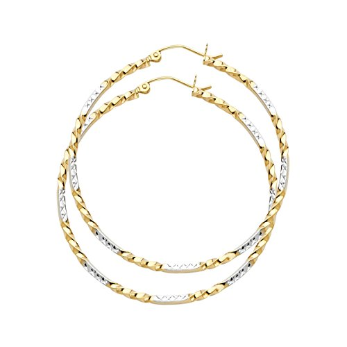 TGDJ 14K Yellow White Curled Hoop Earrings - (Diameter - 44 MM) by Top Gold & Diamond Jewelry