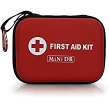 MiNi DR First Aid Kit 85 Pieces, Red Semi Hard Case for Emergency at Home, Outdoors, Travel, Hiking, Camping, Workplace