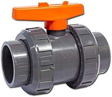 roter Griff 3 x well2wellness® PVC-Kugelhahn mit 2-Wege Klebeanschluss 63mm