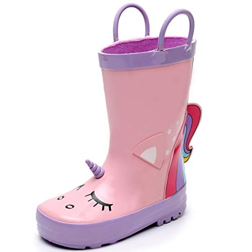 SunRain Toddler Girls Rubber Waterproof Pink Rain Boots for Kids Outdoor Non Slip Durable Mud Boots with Easy On Handle