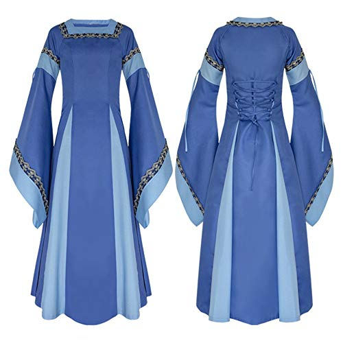 Taille Halloween Mdival Uniforme Femmes L Costume Dress Rtro Robe Maxi Couleur Cosplay Fantaisie Bleu Tenue Longue Noir rx6q0rX