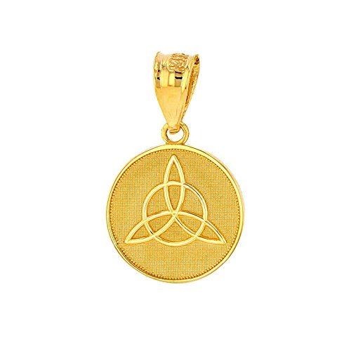 Dainty 10k Yellow Gold Irish Infinity Circle Celtic Trinity Knot Disc ()